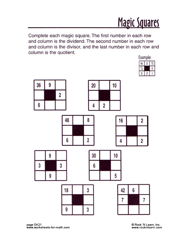 mathworksheetDK21 – Magic Squares Worksheet