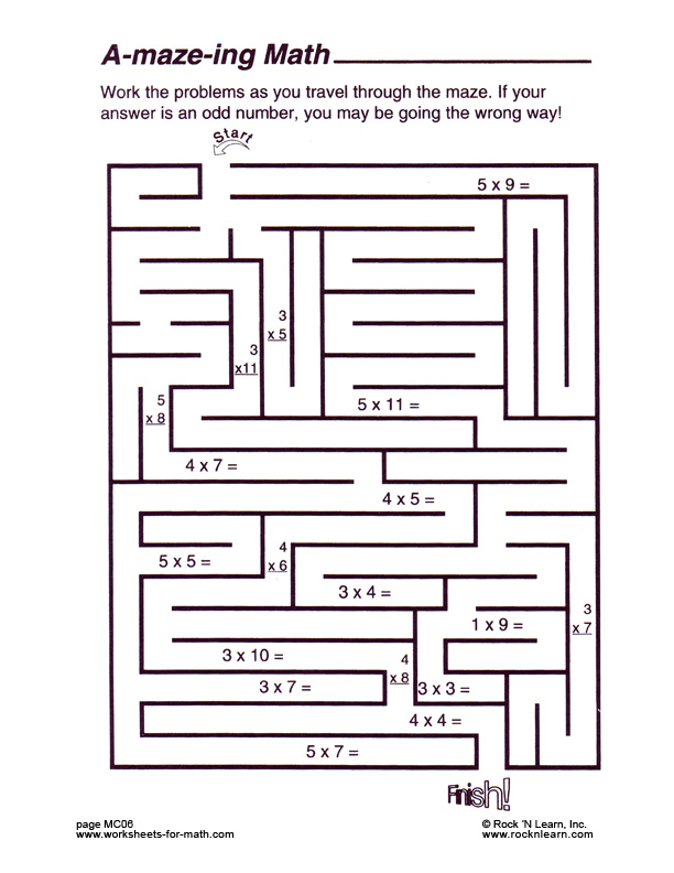 math worksheet : math maze worksheets  khayav : Printable Worksheets Math