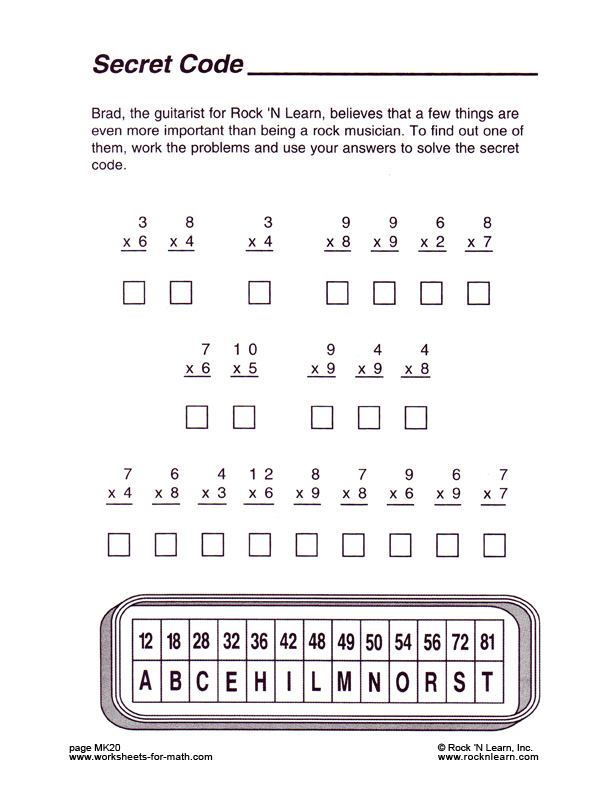 mathworksheetMK20 – Secret Code Worksheets